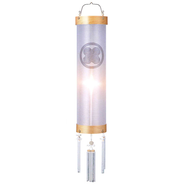 盆提灯 絹張住吉 白木柾無地 9番木製・風鎮付・電気式 家紋入れサービス
