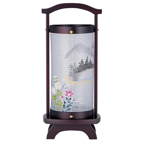 盆提灯 創作提灯 ミニ行灯 仏法灯桜(絹) 絵入 木製・電気式