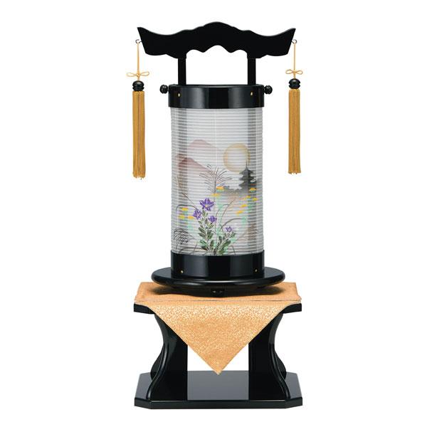 盆提灯 法明燈 黒塗絹一重 おぼろ月 50号木製・台付・電気式 完成品