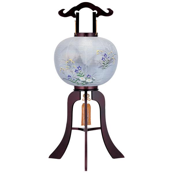盆提灯 絹張行灯 桜二重絵 山水七草 10号木製・風鎮付・電気式