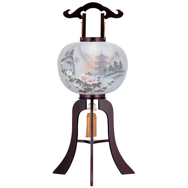 盆提灯 絹張行灯 桜二重絵 五重の塔 10号木製・風鎮付・電気式