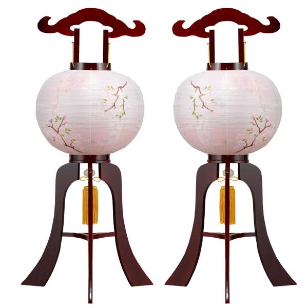 盆提灯 大内行灯 絹張行灯 ワイン二重絵 向い合せ 吉野桜 11号対柄 一対 木製 風鎮付 電気式 絹張 二重絵