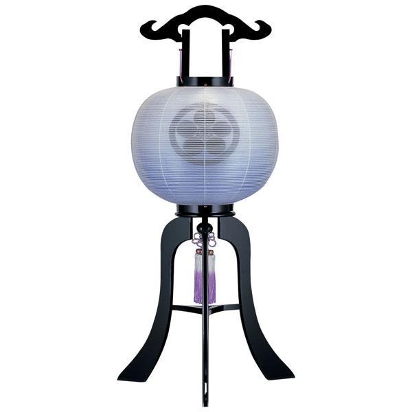 盆提灯 絹張行灯 黒塗二重張 水色ボカシ 10号木製・風鎮付・電気式 家紋入れサービス