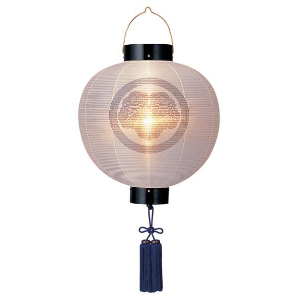 盆提灯 門提灯 絹張尺八丸 無地 紫房付電気式/電池式LED 家紋入れサービス