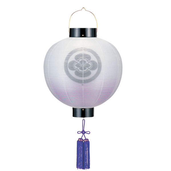 盆提灯 門提灯 絹張尺五丸 二重張紫ボカシ 紫房付電気式/電池式LED 家紋入れサービス
