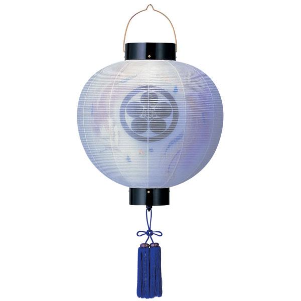 盆提灯 門提灯 絹張尺五丸 二重張舞飛鳳紫房付 電気式/電池式LED 家紋入れサービス