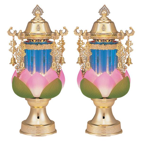 盆提灯 ちょうちん バブル灯 霊前灯ゆきび水泡蓮(中) ブルーゴールド 1対入り