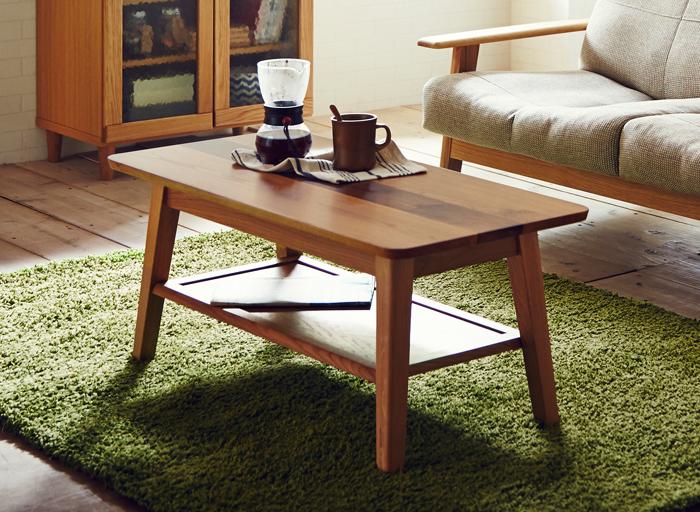 ルック 115センターテーブル オーク&ウォールナット カジュアル モダン 北欧 ノルディック ナチュラル 天然木 送料無料