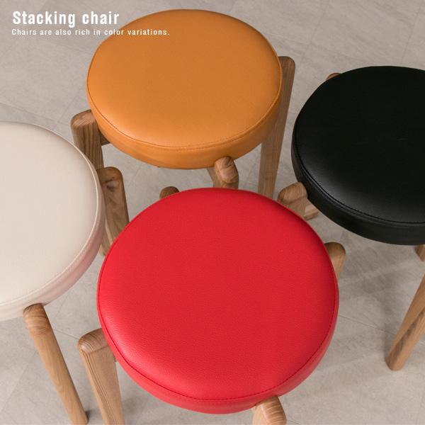【送料無料】 スタッキングチェア PVC 30cm 北欧風 丸 木製 スタッキングスツール 椅子 チェアー いす タモ材 無垢材 ホワイト レッド キャメル ブラック コンパクト 重ねる シンプル モダン かわいい おしゃれ