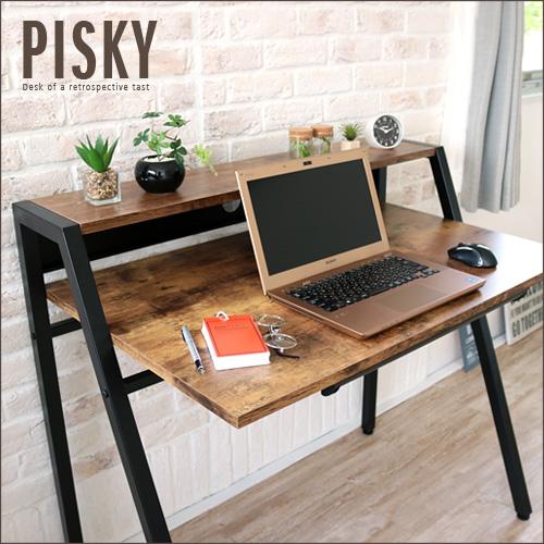 アンティーク デスク PISKY ピスキー アイアン スチール パソコンデスク 北欧 木製 ライティングデスク 引き出し 引出し付き 収納 省スペース コンパクト ブラウン ナチュラル レトロ おしゃれ 送料無料 セール