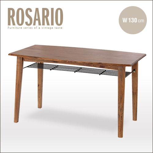 【送料無料】 アンティーク ダイニングテーブル 130 ROSARIO ロサリオ アンティーク風 アンティー調 カフェ テーブル カントリー 木製 天然木 単品 カフェテーブル 棚 棚付き 幅130 北欧 レトロ モダン 男前 インテリア おしゃれ