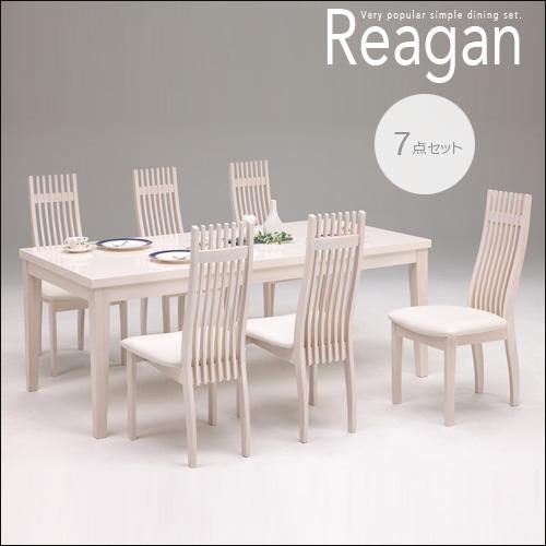 【送料無料】 ダイニング7点セット Reagan レーガン アイボリー 鏡面 ヨーロピアン PVC 清潔感 無垢 ラバーウッド シンプル 七点 ゆったり ダイニングセット 180 180cm 幅180 モダン 6人掛け 6人 おしゃれ セール