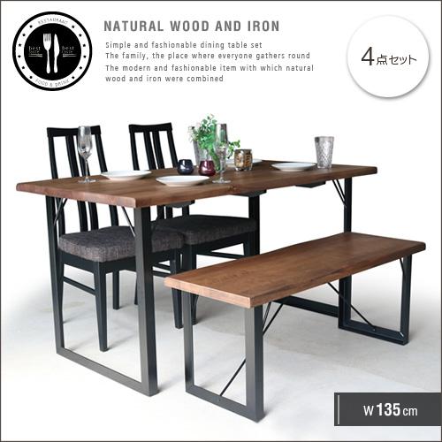 ダイニングテーブルセット ベンチ 4人掛け 135 無垢 無垢材 ダイニングテーブルセット 4人 135cm 脚 アイアン アンティーク 一枚板風 北欧 和風 モダン 和モダン 4点 天然木 木製 おしゃれ セール