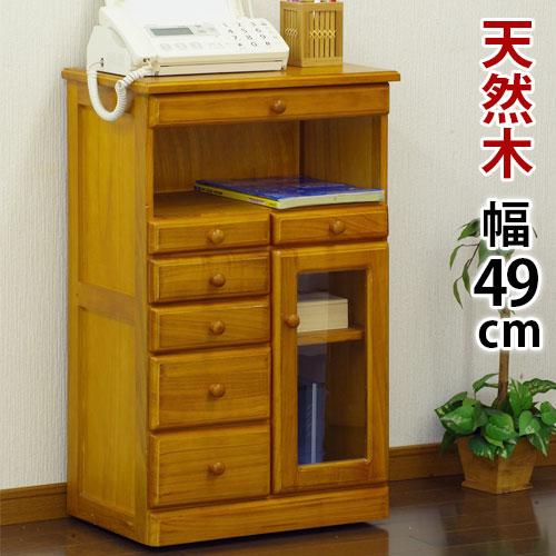 マルチFAXラック シングル 幅49cm ファックス台 FAX台 電話台 でんわ台 収納棚 天然木 フクダクラフト 完成品