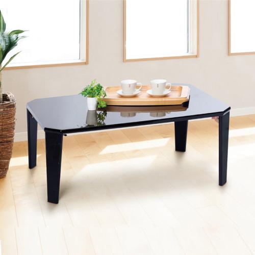 鏡面 折りたたみテーブル 幅90 テーブル 折りたたみ 折脚 ポリウレタン塗装 センターテーブル リビングテーブル 完成品 高級感 おしゃれ 白 黒 ホワイト ブラック 送料無料 組立不要
