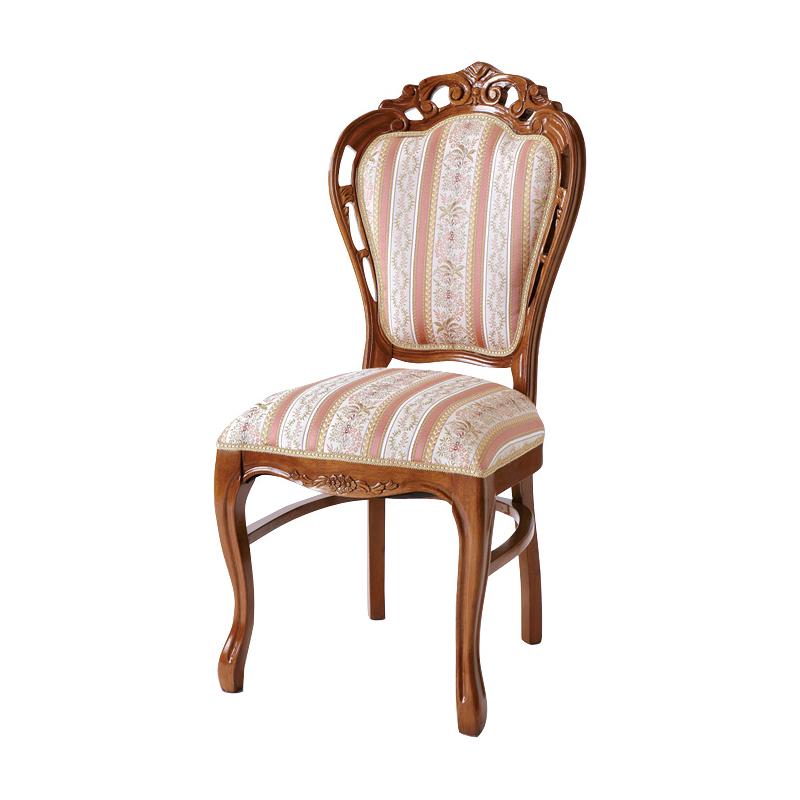 ダイニングチェア 1脚 猫脚 椅子 アンティーク エレガント ヨーロピアン ロココ調 装飾 彫刻 家具 高級家具 ブラウン 茶 天然木 送料無料 SA-C-1734-B5