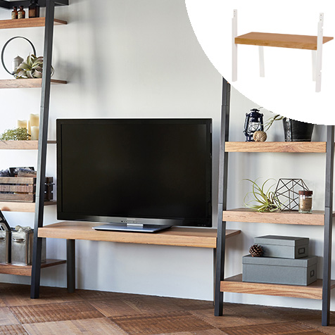 TVラックアタッチメント 幅85 高さ42 テレビ台 オープン TV台 オプション ホワイト 白 木目 木製棚 オープンラック(ahh1010331・ahh1010333・ahh1010335)専用 送料無料 新生活 RTV-1874WH