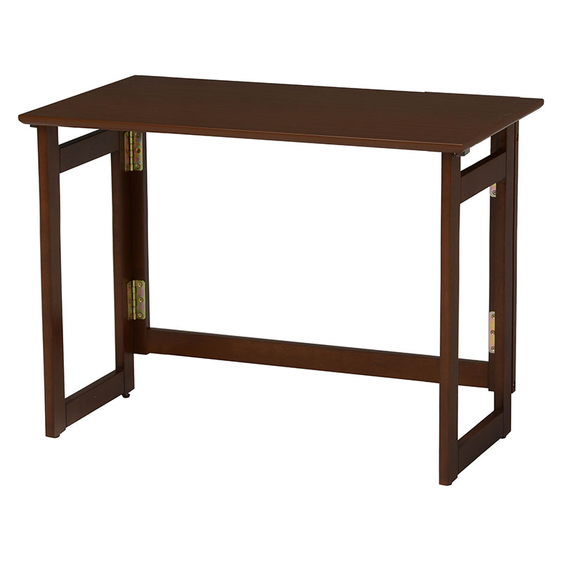 折りたたみテーブル 幅80 奥行40 高さ65 木製 ハイタイプ 折り畳み 折畳み ブラウン 茶 木目 ベージュ テーブル デスク 木製 おりたたみ キャスター 送料無料 新生活 作業台 スペース活用 VT-7811DBR