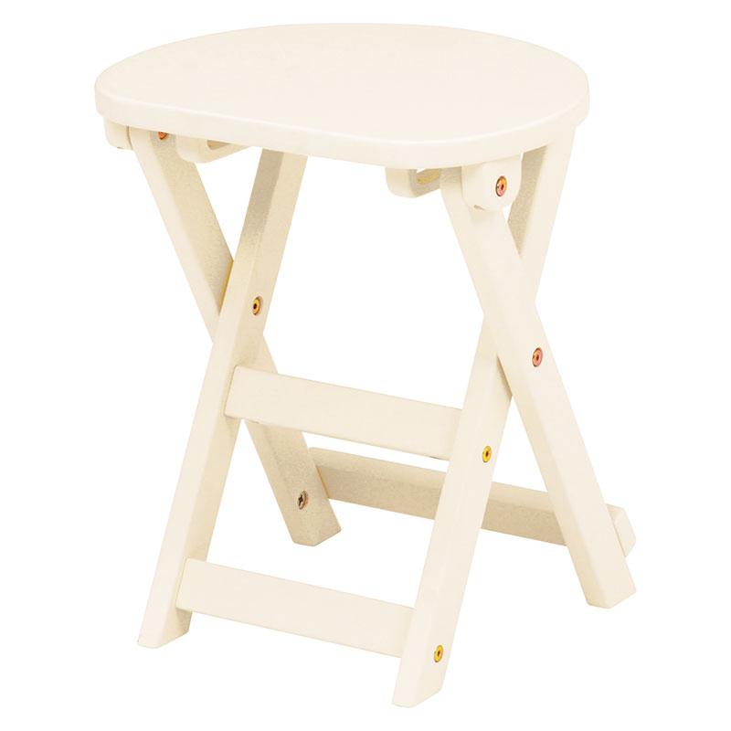 折りたたみスツール 座面高約42cm 折りたたみチェア 折りたたみ椅子 木製 天然木 シンプル コンパクト 背もたれ無し 作業用いす 収納 送料無料 木製 イス いす チェア スツール 丸椅子 折り畳み ホワイト 白 VH-7963WH