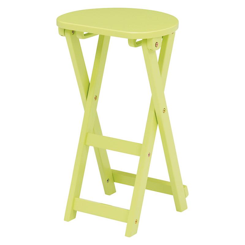 折りたたみスツール 座面高約62cm 折りたたみチェア 折りたたみ椅子 木製 天然木 シンプル コンパクト 背もたれ無し 作業用いす 収納 送料無料 木製 イス いす チェア スツール 丸椅子 折り畳み ライトグリーン VH-7964LGR