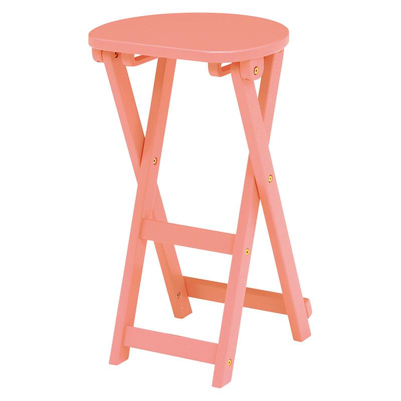折りたたみスツール 座面高約62cm 折りたたみチェア 折りたたみ椅子 木製 天然木 シンプル コンパクト 背もたれ無し 作業用いす 収納 送料無料 木製 イス いす チェア 丸椅子 折り畳み ピンク サーモンピンク VH-7964LPI