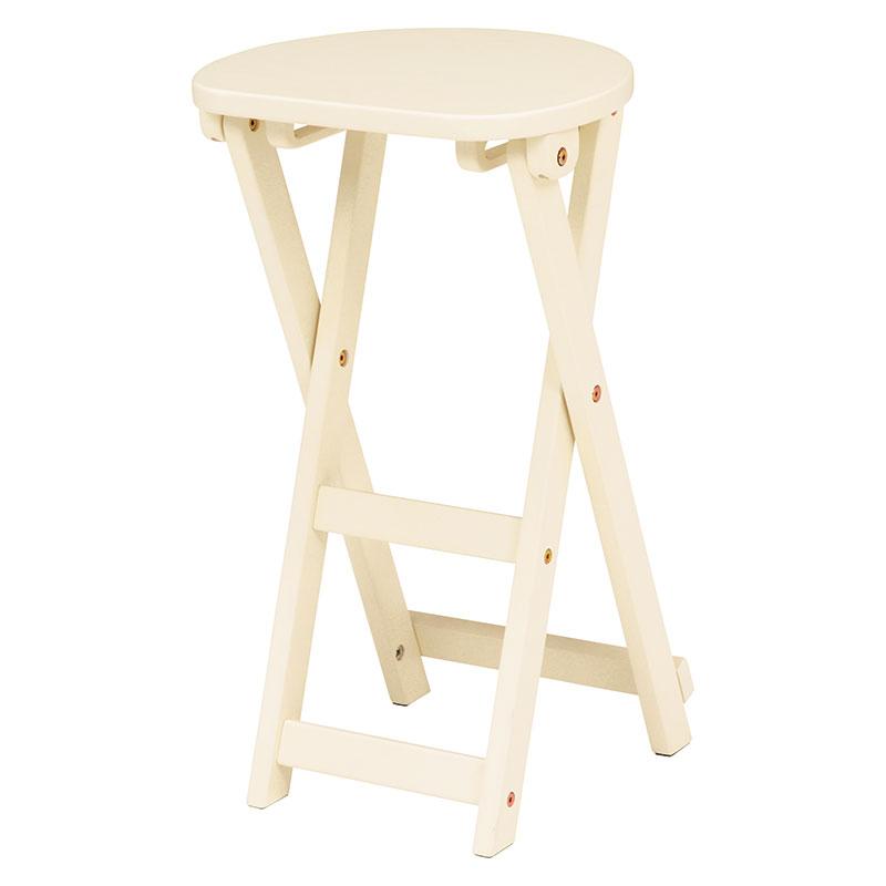折りたたみスツール 座面高約62cm 折りたたみチェア 折りたたみ椅子 木製 天然木 シンプル コンパクト 背もたれ無し 作業用いす 収納 送料無料 木製 イス いす チェア 丸椅子 折り畳み ホワイト 白 VH-7964WH