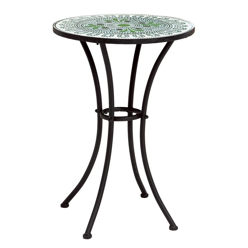 テーブル 幅50 ガーデンテーブル おしゃれ モザイク グリーン 緑 スチール アイアン 屋外 ベランダ 庭 ガーデニング テーブルのみ ブルー 雨ざらし 送料無料 LT-4185GR