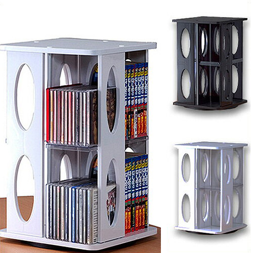 ROTATIVE CD DVD TOWER 1 NF 8004 Case Bookshelf Holder Storage Freezer Rotation Wood Flat Screen Store