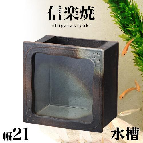 信楽焼き 水槽 黒釉角水槽 幅21 高さ22 信楽焼 金魚鉢 水草アクアリウム しがらき おしゃれ お洒落 陶器 インテリア 和雑貨 送料込み 新生活