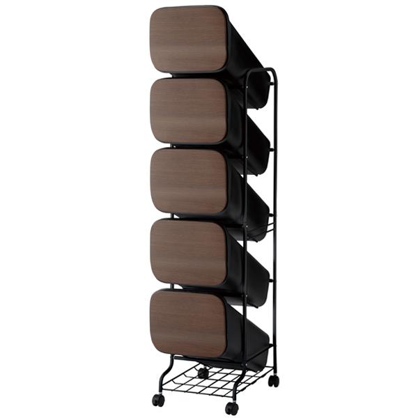 スムース 分別ごみ箱 ゴミ箱 5段 ダストボックス 100L GBBH013 ウッド ブラック ホワイト メタル