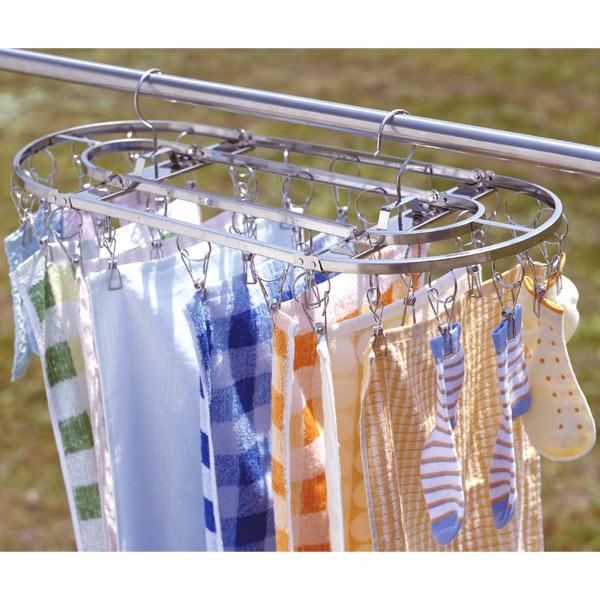 洗濯ハンガー ダイレクトステンレスハンガー 32ピンチ 26713 シルバー