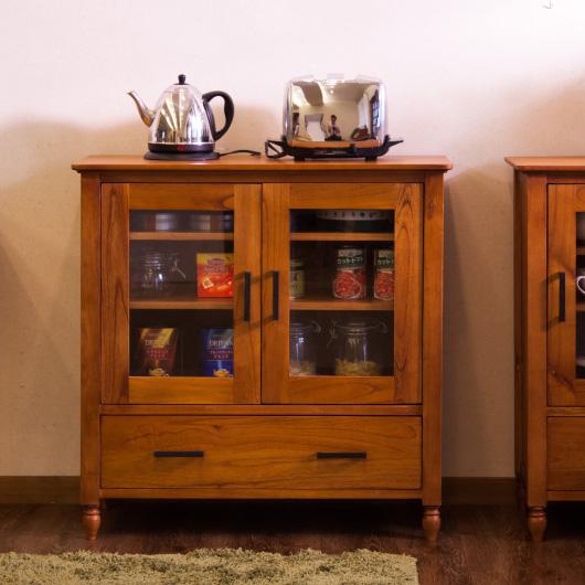 キャビネット 木製 北欧 アンティークデザイン家具 ガラス扉 薄型 キッチン 完成品 無垢材 デスクサイド 天然木製 ラック シェルフ 食器棚 幅80cm 送料無料