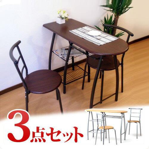 ダイニングテーブルセットDTS110 スリム ダイニングテーブル オフィスキッチン 簡易テーブル 3点セット バーチェアー カウンターチェアー カウンター椅子 バースタンドチェア モダン シック 木製 塩系インテリア 送料無料 AWL 新生活