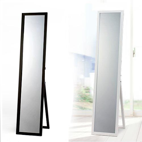 スタンドミラー 鏡 幅33cm MS-33L 白 黒 木製フレーム 鏡面 ミラースタンド 姿見ミラー 姿鏡 ルームミラー ホワイト ブラック 木製/薄型/通販/送料無料 AWL【送料込み】 新生活 組立不要