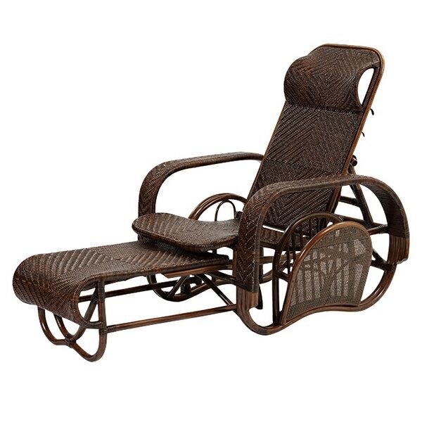 ラタン手編み リクライニングチェアWAHOO 三ツ折椅子 三段階リクライニングの折り畳み 通気性に優れ 程よい弾力が座り心地の良い籐椅子 M505KA 送料無料 組立不要