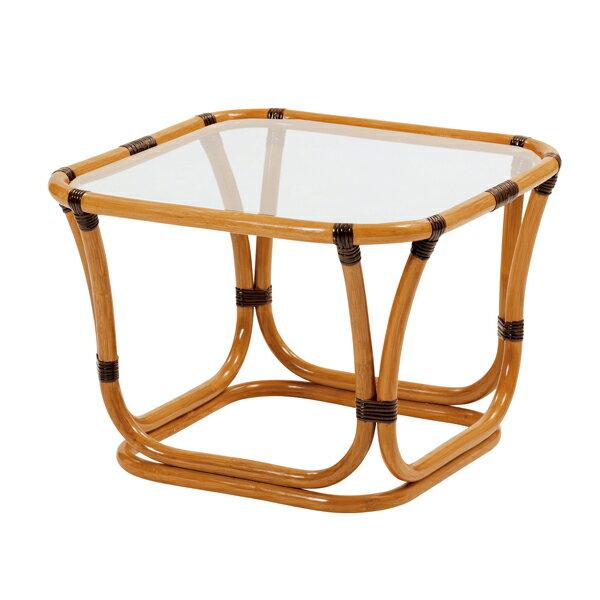 ラタンガラステーブルWAHOO テーブル ガラス天板と 天然の籐フレームがしなやかで美しい 籐机 T200CB 送料無料