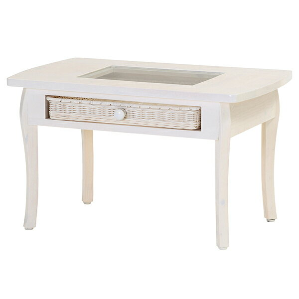 フィオーレ テーブルfiore テーブル 華やかでかわいらしい 天板がガラスで籐の引出しをディスプレイとして利用可能な机 T803WW 送料無料 組立不要