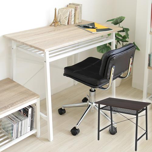 【送料無料】 【リリー】 デスク パソコンデスク PCデスク オフィスデスク テーブル 机 勉強机 幅93 棚付き シンプル ブラウン×ブラック/ナチュラル×ホワイト
