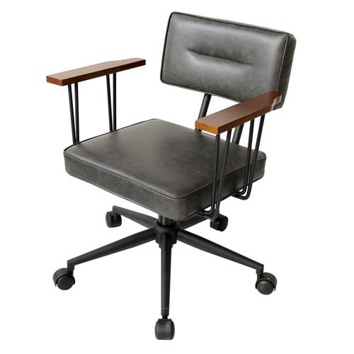 【送料無料】 オフィスチェアー オフィスチェア 椅子 イス パソコンチェア PCチェア ワークチェア 昇降式 肘掛け キャスター アンティーク調 レトロ ブラック 【FIVE】