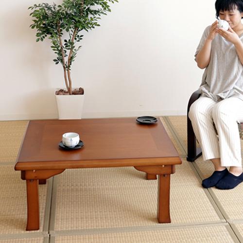 【送料無料】 座卓 ローテーブル リビングテーブル センターテーブル キュービックテーブル 机 折り畳み 折れ脚座卓 一人暮らし 木製 和室 完成品 75×60