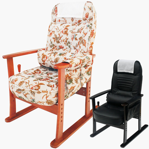 【送料無料】 肘付高座椅子 リラックスチェア チェアー 椅子 リビングチェア パーソナルチェア 肘付き ブラックレザー/ベージュフラワー