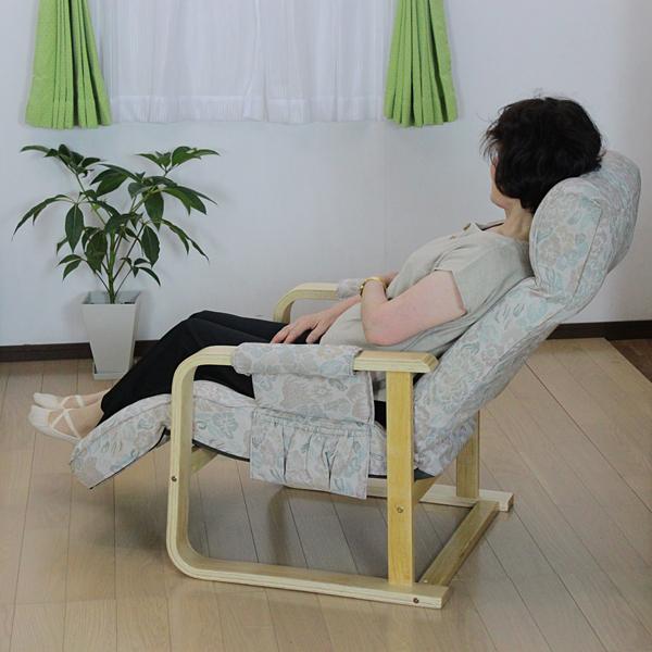 【アウトレット/処分品】 座椅子 リラックスチェア 12段ギア式 肘付き リクライニングチェア ワイド 幅67 座面高40 レバー 調節 木製 アーム チェアー リラックス チェア サイド ポケット 収納 高座椅子 フロアチェア 花柄 ブラウン LJ-L1
