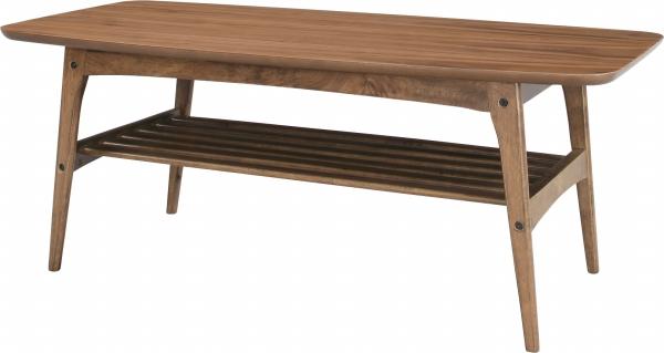 センターテーブル テーブル 棚付き 幅105cm 高さ48cm シンプル コンパクト リビングテーブル コーヒーテーブル 木製テーブル 木製 ウォールナット突板 ラーバーウッド 収納付き 収納 送料無料