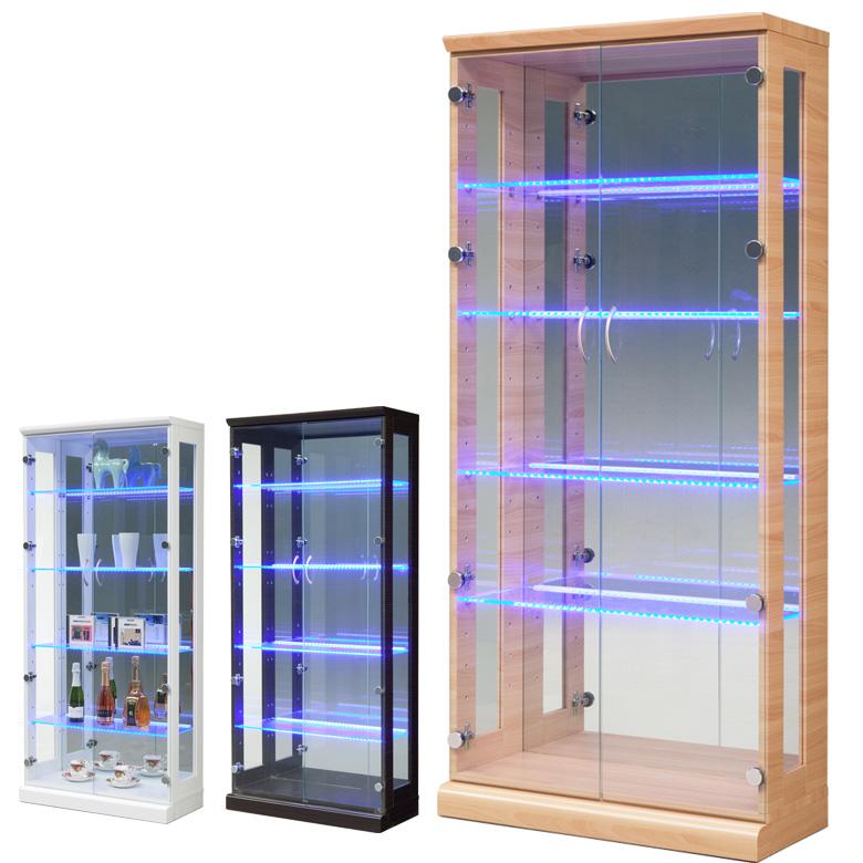 コレクションボード コレクションケース ハイタイプ 幅70cm 魅せる収納 ディスプレイ LEDライト付 ブルーライト付 コレクション 収納 ガラスケース リビング収納 収納家具 ナチュラル ブラウン ホワイト 白