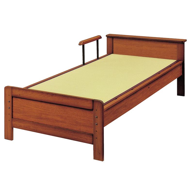 【11%OFFクーポンあり】国産 畳ベッド 手すり付き 棚付き 日本製 セミダブル 5段階 高さ調整 たたみベッド セミダブルベッド タウン 木製ベッド フレームのみ 木製 イ草 通気性 調湿 ベッドフレーム ベッド ベット ブラウン 手すり1本付き 立ち上がり 支え