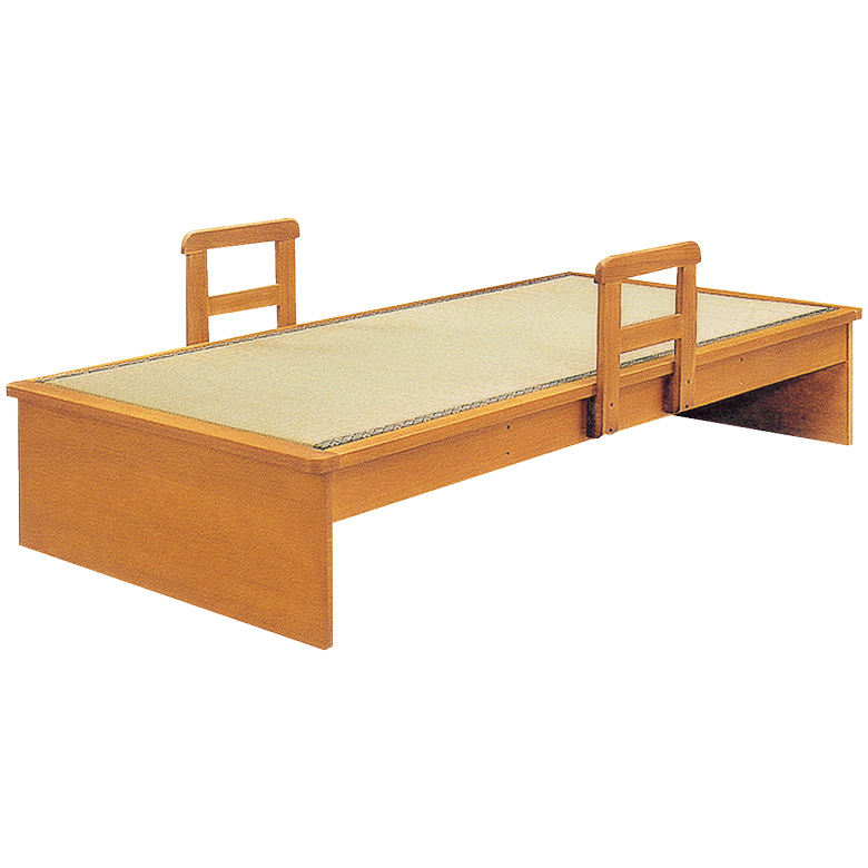 畳ベッド 手すり 2本付き シングル ヘッドレス たたみベッド 国産 畳 シングルベッド タモ 木製ベッド フレームのみ 木製 通気性 調湿 ベッドフレーム ベッド ベット ブラウン 手すり付き 立ち上がり 支え い草