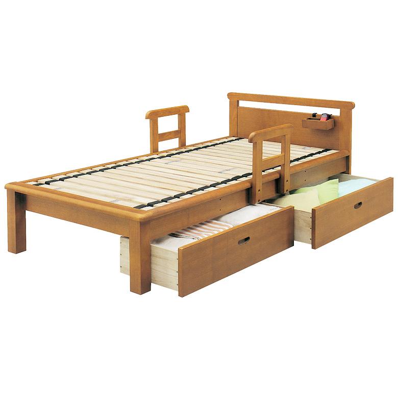 シングルベッド ロングサイズ ローリング すのこ 手すり 2本付き 小物入れ付 シングル 脚付き ベッド シングルベッド 引出し付き 収納 フレームのみ タモ 木製 ライトブラウン ベッド ベット お掃除ロボット