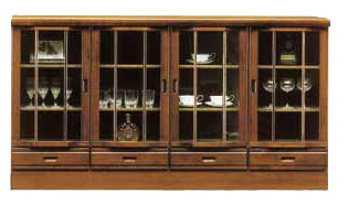 リビング収納 サイドボード フリーボード 幅180cm リビングボード カウンター 国産 おしゃれ 収納家具 キャビネット ガラス戸 開き戸 開き戸タイプ シンプル モダン 引出し 壁面家具 ブラウン
