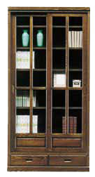 本棚 書棚 扉付き 幅90cm ハイタイプ キャビネット おしゃれ ブックシェルフ 引き戸 引出し 収納家具 リビング収納 ガラス ガラス戸 大容量 木製 国産 日本製 完成品 シンプル ブラウン