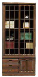 本棚 書棚 扉付き 幅90cm ハイタイプ キャビネット おしゃれ ブックシェルフ 引き戸 引き戸タイプ 引出し 収納家具 リビング収納 ガラス ガラス戸 大容量 木製 国産 日本製 完成品 シンプル ブラウン
